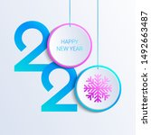 2020 new year vector... | Shutterstock .eps vector #1492663487