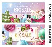 christmas sale promotional... | Shutterstock .eps vector #1492670501