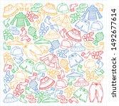 vector set of hand drawn... | Shutterstock .eps vector #1492677614