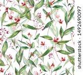 watercolor blooming eucalyptus... | Shutterstock . vector #1492690097