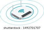 Wireless Router In Isometric...