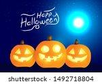 set of halloween pumpkins and... | Shutterstock .eps vector #1492718804