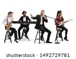 Music Band With A Guitarist ...