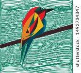cute polygonal bird vector... | Shutterstock .eps vector #1492734347