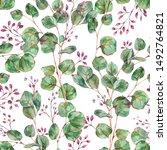 watercolor blooming eucalyptus... | Shutterstock . vector #1492764821