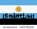 silhouette of refugees people... | Shutterstock .eps vector #1492782344