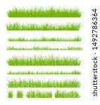 set of fresh green grass... | Shutterstock .eps vector #1492786364