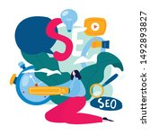 seo  search engine optimization ... | Shutterstock .eps vector #1492893827