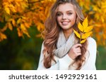 beautiful girl walking outdoors ... | Shutterstock . vector #1492929161