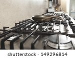 closeup of frying pan on stove...   Shutterstock . vector #149296814