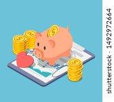 flat 3d isometric piggy bank... | Shutterstock .eps vector #1492972664
