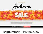 autumn sale background  banner  ... | Shutterstock .eps vector #1493036657