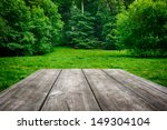 Wooden Picnic Table With Green...
