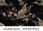 japanese crane bird and sakura... | Shutterstock .eps vector #1493075921