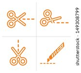 scissors and cutter  vector | Shutterstock .eps vector #149308799