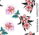 summertime garden flowers... | Shutterstock . vector #1493127707