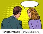 man and woman dialogue. pop art ... | Shutterstock .eps vector #1493161271