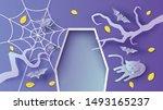design empty coffin of dracula... | Shutterstock .eps vector #1493165237