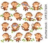 Stock vector playful monkeys set 149317604