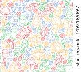 camping doodle set. vector... | Shutterstock .eps vector #1493189897