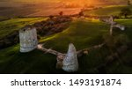 Small photo of Hadleigh Castle ruins seen from the sky