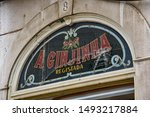 Small photo of Lisbon, Portugal - July 27, 2019: 'A Ginginha', a famous bar dedicated to Ginginha, a traditional Sour Cherry Brandy