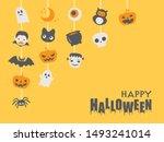 halloween cute character vector ... | Shutterstock .eps vector #1493241014