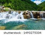 Ugar river with small water cascade near village Donji Orasac in Bosnia and Herzegovina