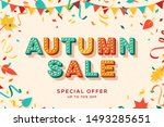 autumn sale vector banner... | Shutterstock .eps vector #1493285651
