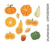 set of hand drawn pumpkins.... | Shutterstock .eps vector #1493305604