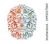 color design of lion head on... | Shutterstock .eps vector #1493317064