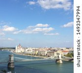 Panorama of Budapest, Hungary, with the The Szechenyi Chain Bridge, the Hungarian Parliament building and other buildings along Danube river, Hungary.