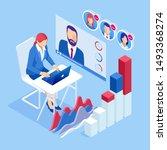 isometric business training... | Shutterstock .eps vector #1493368274