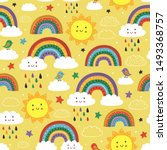 yellow seamless pattern with...   Shutterstock .eps vector #1493368757