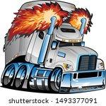 semi truck tractor trailer big...   Shutterstock .eps vector #1493377091