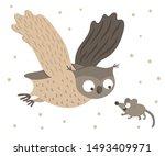 Vector Hand Drawn Flat Owl...