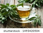 Sage Tea  In Glass Mug And Sage ...