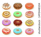 sugar sweet donuts. color donut ... | Shutterstock .eps vector #1493448104