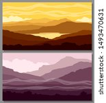 mountain landscapes set. yellow ... | Shutterstock . vector #1493470631