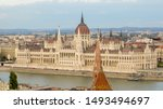 A landscape view of Budapest city, the Hungarian parliament building and other buildings along Danube river, Hungary.