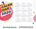 calendar layout. design 2020.... | Shutterstock .eps vector #1493495324