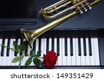Piano Keyboard  Red Rose And ...