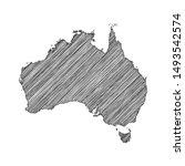 scribble map of australia black ... | Shutterstock .eps vector #1493542574