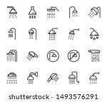 line shower icon set isolated...