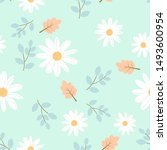 daisy seamless pattern  white... | Shutterstock .eps vector #1493600954