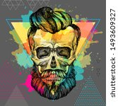 hand drawing hipster skull... | Shutterstock .eps vector #1493609327