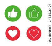thumb up on green circle and...   Shutterstock .eps vector #1493616404