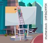 billboard installation flat...   Shutterstock .eps vector #1493624954
