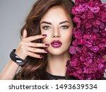 beautiful  woman with purple... | Shutterstock . vector #1493639534