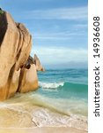 Seychelles seascape. Granite stones and ocean. Anse d'Argent - stock photo